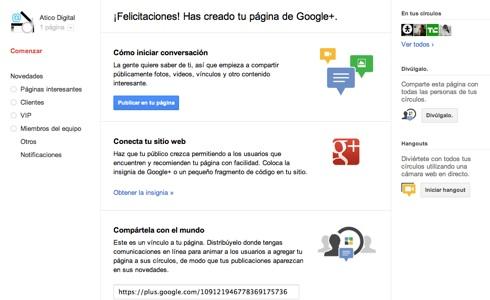 Cómo hacer una página en Google+ - bienvenida-paginas-google