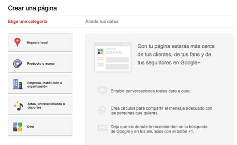 Cómo hacer una página en Google+ - categoria-pagina-google+