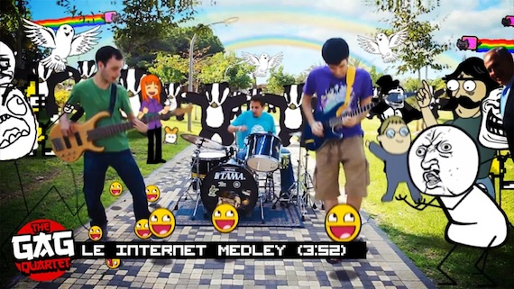 the gag quartet le internet medley Espectacular y divertido video musical lleno de MEMES por The GAG Quartet