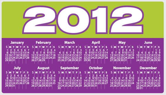 2012 calendar Calendarios 2012 para imprimir