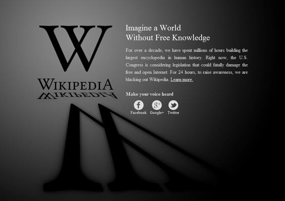 Wikipedia lidera el apagón como protesta contra la ley SOPA - wikipedia-en-sopa