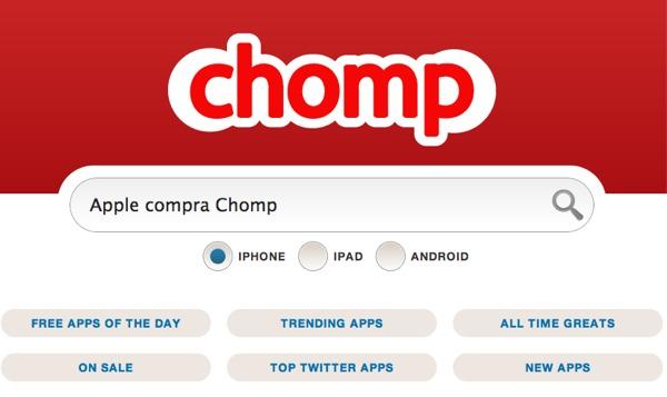 Apple compra Chomp, un servicio que nos sugiere las mejores aplicaciones de la App Store - apple-compra-chomp