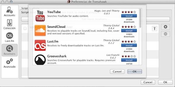Tomahawk, el reproductor musical social multiplataforma de código libre definitivo [Reseña] - Tomahawk-extensiones