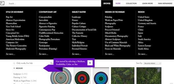 Filtro artsy Art.sy, el lugar en donde descubrir y comprar obras de arte [Reseña]
