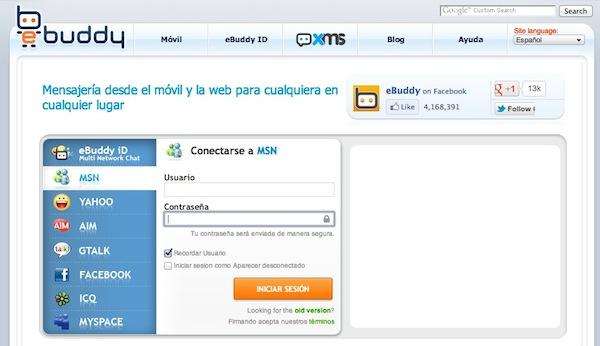 ebuddy conectarse msn Messenger online, algunas opciones