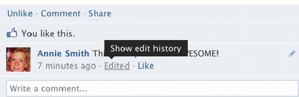 facebook comentarios Facebook permite edición de comentarios con historial de cambios
