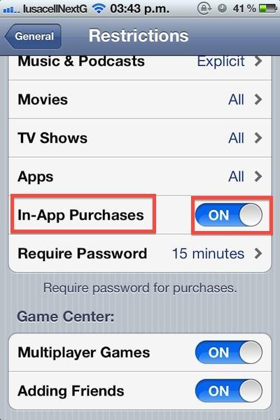 Cómo bloquear las compras dentro de la aplicación (In-app) en iOS - Como-bloquear-compras-in-app-ios-3
