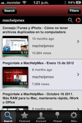 IMG 2574 TubeAcco, un excelente cliente de YouTube para tu iPhone o iPod [Reseña]