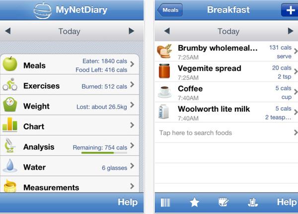 calorie counter Controlar la dieta con tu celular