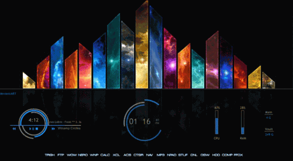 electric space 590x325 Personaliza tu escritorio de Windows con estos skins de Rainmeter