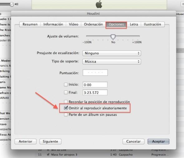 Cómo excluir canciones de la reproducción aleatoria en iTunes - Excluir-canciones-itunes-3-590x506