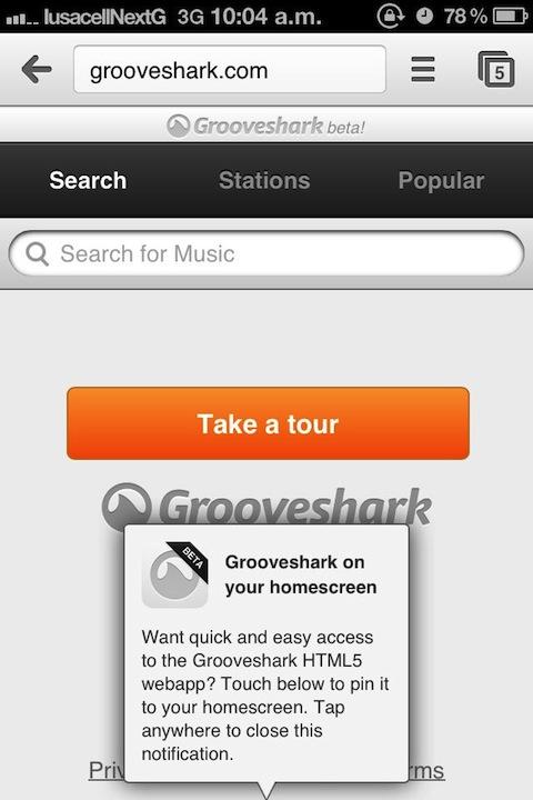 Grooveshark actualiza su aplicación web para móviles [Reseña] - Grooveshark-movil-1