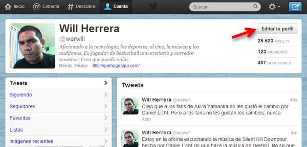 Cómo cambiar el encabezado o banner de tu perfil de Twitter - cambiar-banner-twitter-1