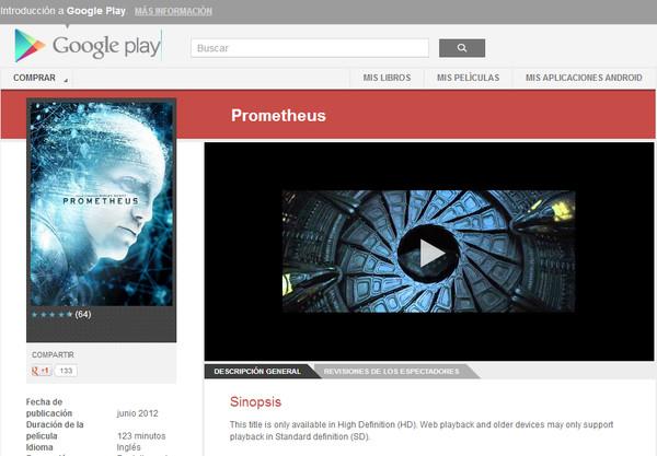 google play prometheus Google ampliará catálogo de Google Play con contenido de 20th Century Fox