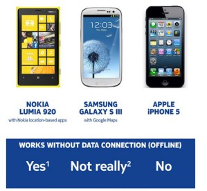 Nokia muestra las ventajas de sus Mapas frente a las opciones de Samsung y Apple