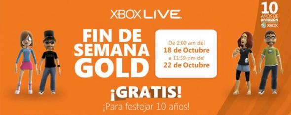 Xbox México cumple 10 años y regala Xbox Live Gold este fin de semana - Gold-590x234