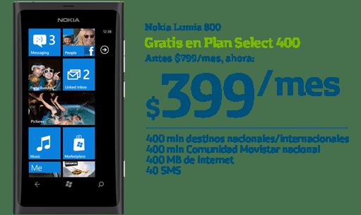 Samsung Galaxy SIII y iPhone 4S gratis con Movistar para este Buen Fin - NokiaLumia800-buen-fin-movistar