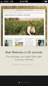 Crear sitios web desde tu iPhone con Zapd