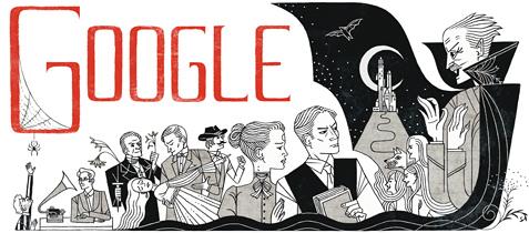 Google homenajea en su doodle a Bram Stocker, creador de Drácula - doodle-bram-stocker