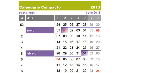 Calendarios 2013 para imprimir - calendario-compacto