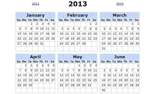 printable calendar 2013 Calendarios 2013 para imprimir