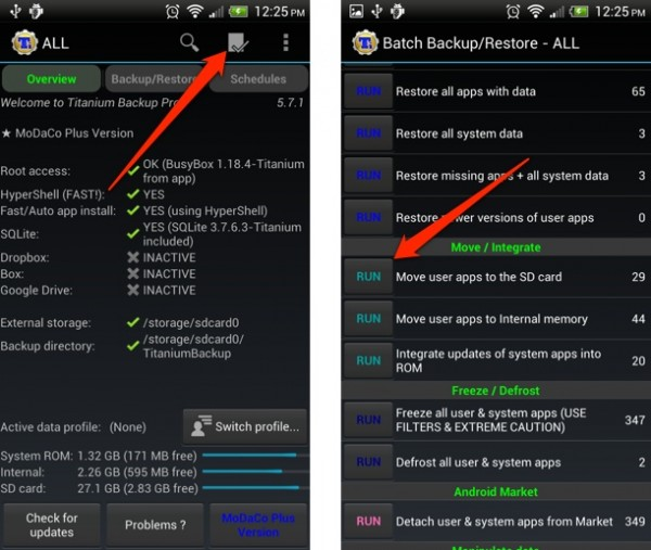 Cómo mover apps a la memoria SD con Titanium Backup en Android [root]