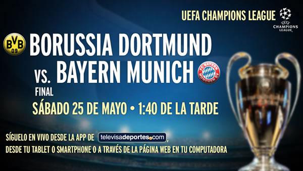 borussia vs bayern en vivo Borussia Dortmund vs Bayern Munich en vivo, Final Champions 2013