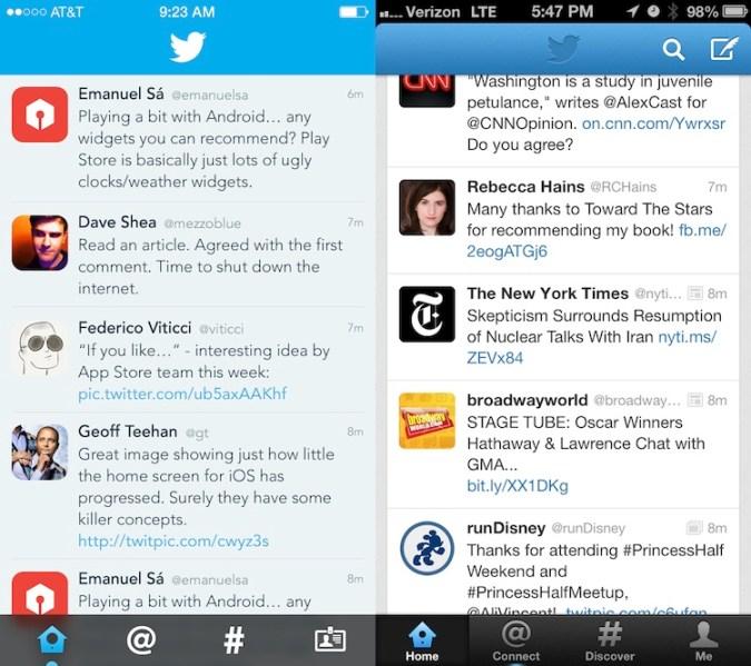 ¿Cómo se verían las aplicaciones si adoptaran la nueva interfaz de iOS 7? - Twitter-iOS-7