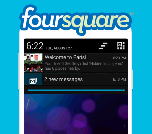 Foursquare para Android se actualiza y añade la sugerencia de lugares en segundo plano - Foursquare-android