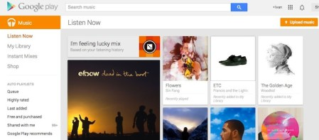 """Google Play Music se actualiza con la función """"Voy a tener suerte"""""""