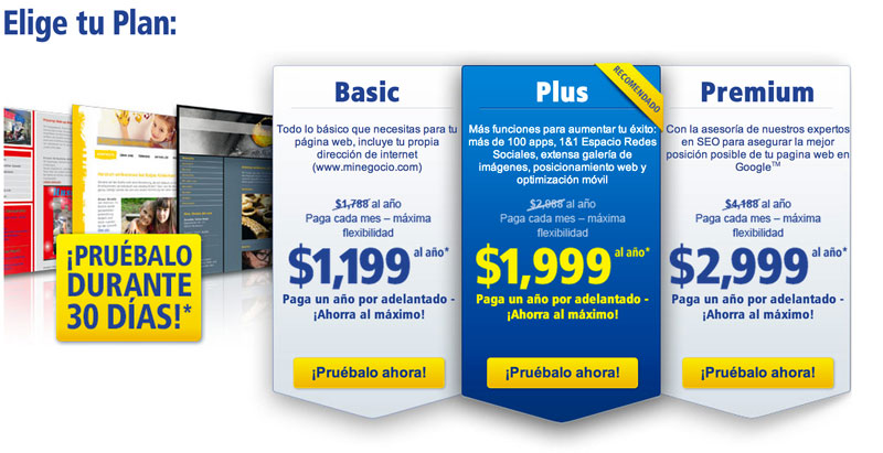 Crea tú mismo la página web para tu negocio con 1&1 MyWeb - planes-crear-paginas-web