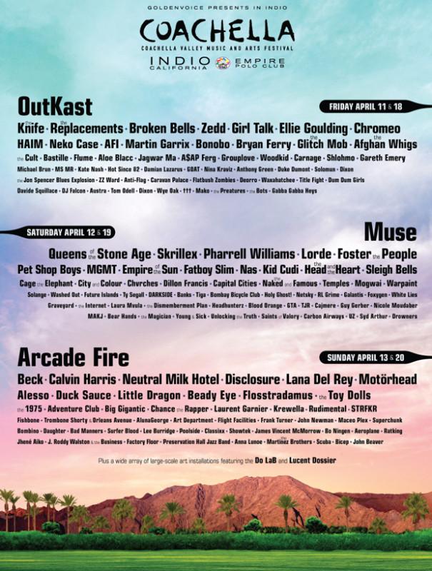 Coachella 2014 anuncia su cartel y podrás verlo por Youtube - coachella-lineup-605x800
