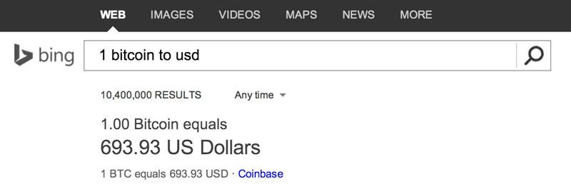 El conversor de divisas de Bing añadió a la moneda virtual Bitcoin - bitcoin-bing