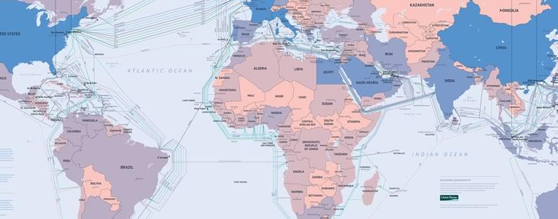 Mapa con los cables submarinos que conectan a Internet a todo el mundo. - mapa-cables-submarinos-internet