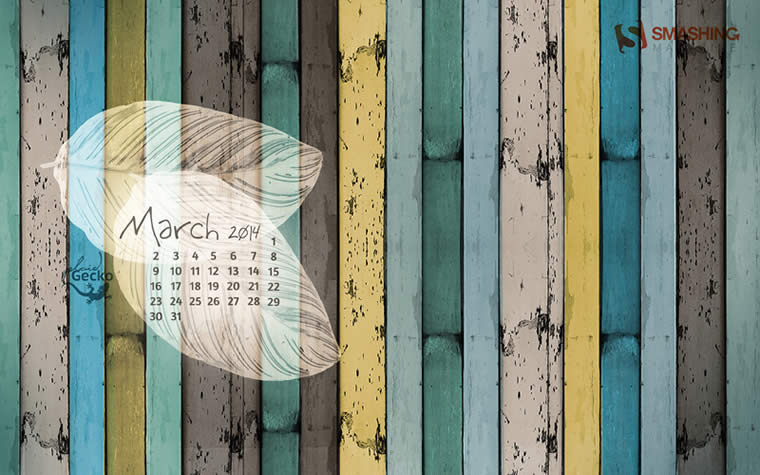 Decora tu escritorio con estos fondos con el calendario de Marzo - calendario-marzo-2014-fondos-Wooden-Stripes