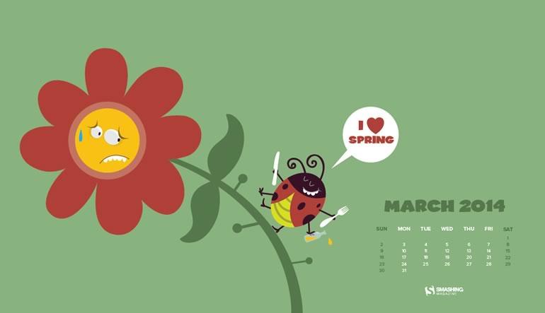 Decora tu escritorio con estos fondos con el calendario de Marzo - calendario-marzo-yummy-spring