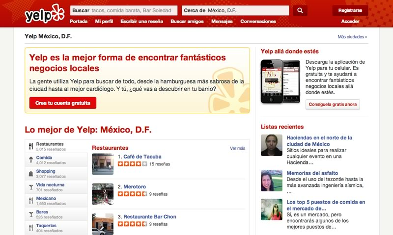 Yelp, la guía para encontrar los mejores lugares para comer, comprar y más llegó a México - yelp-guia-negocios-mexico
