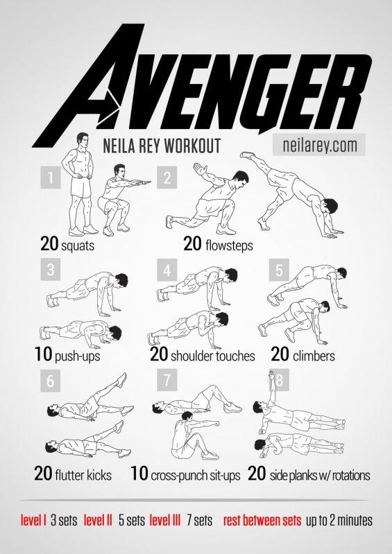 Rutinas de Ejercicios inspiradas en Superheroes - avenger-workout
