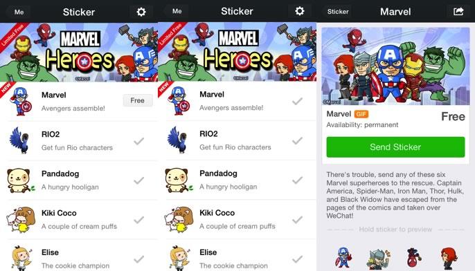Descarga los stickers de WeChat con los Súper Héroes de Marvel gratis - descargar-stickers-wechat-gratis