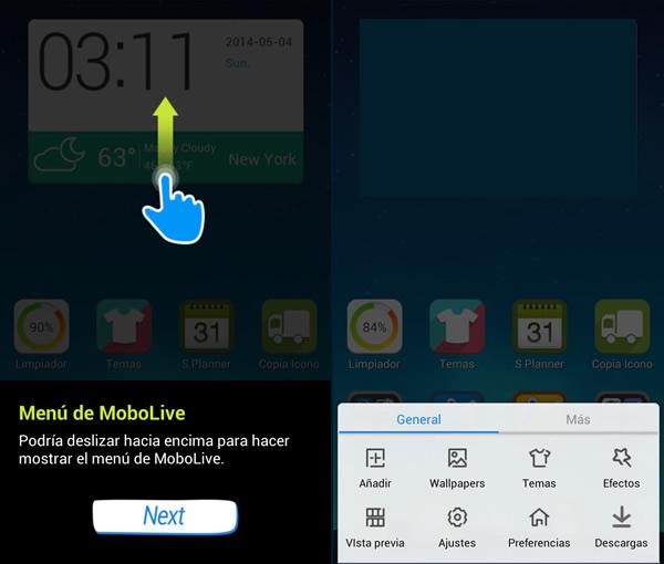 Mobolive, te permite personalizar tu android y aplicarle temas [Reseña] - mostrar-menu-mobolive
