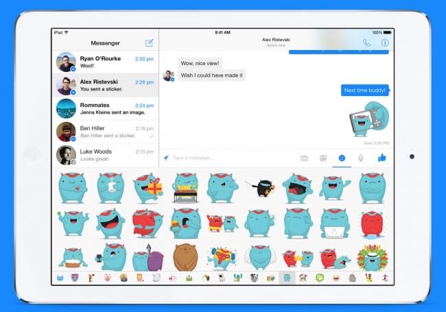 Facebook Messenger para iPad ya disponible - facebook-messenger-para-ipad-stickers
