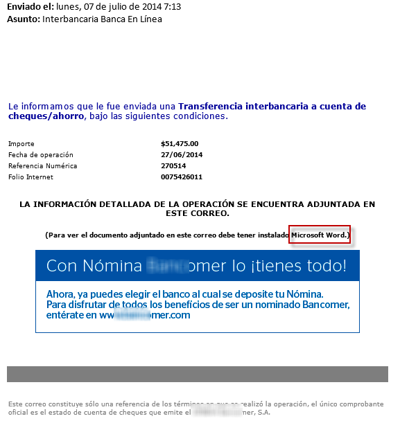 Falso correo de un banco propaga amenaza y roba datos de los usuarios en México - phishing-bancomer