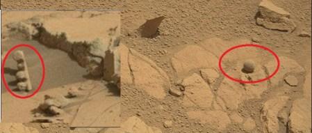 Curiosity fotografía roca con forma de semáforo en Marte