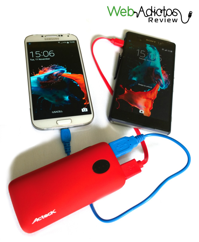 Baterías Portátiles Acteck XPLOTION, atractivas, divertidas y muy útiles - acteckPower-bank-4400mAh-cargando-2-celulares-e1416503161799