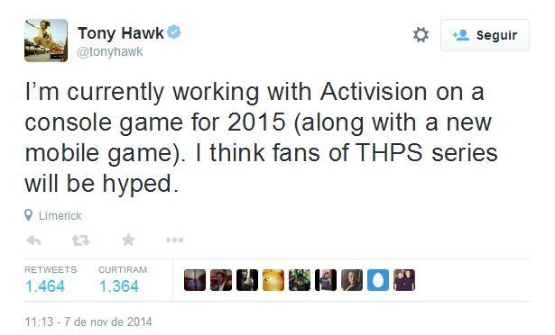 Tony Hawk regresará a los videojuegos en 2015 - tony-hawk-twitter