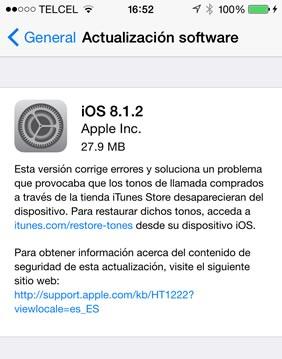 iOS 8.1.2 es lanzado por Apple para corregir errores - iOS-8.1.2