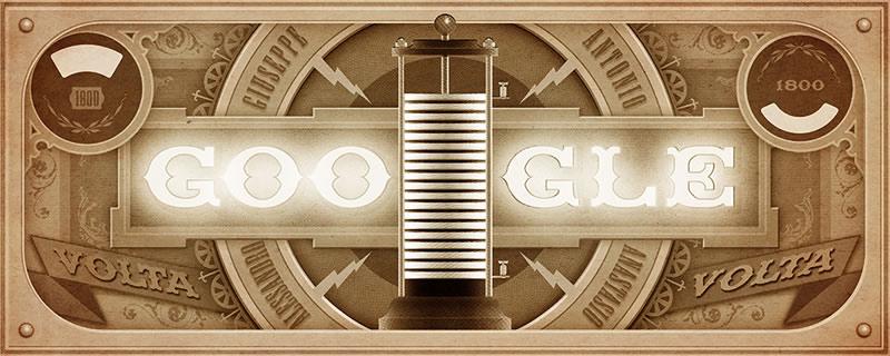 Alessandro Volta y su pila eléctrica recordada con un Doodle - Doodle-Google-Alessandro-Volta