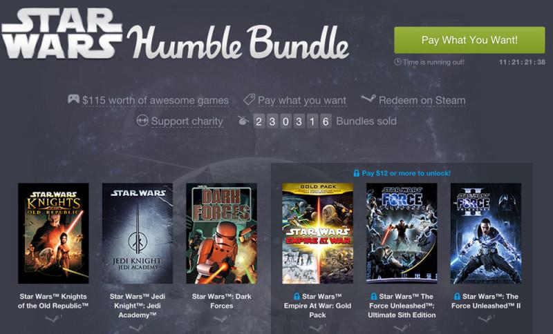 9 videojuegos de Star Wars por lo que quieras pagar por ellos en el Humble Bundle - star-wars-humble-bundle-800x484