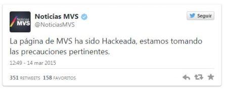 MVS confirma Hackeo de su portal por Anonymous México