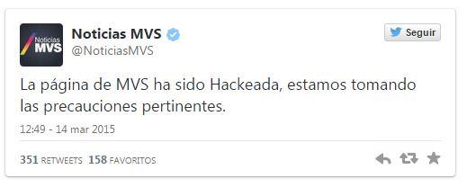 MVS confirma Hackeo de su portal por Anonymous México - MVS-Hack